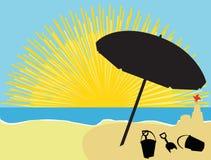Parasol y juego de la playa de la salida del sol stock de ilustración
