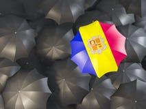 Parasol z flaga Andorra Obrazy Stock