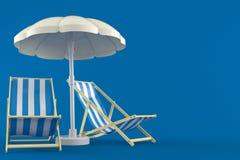 Parasol z pokładów krzesłami royalty ilustracja