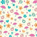 Parasole i kwiaty w wiosna wzorze Obraz Stock