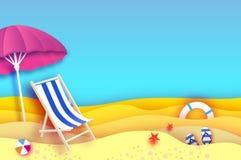 Parasole rosa - l'ombrello in carta ha tagliato lo stile Chaise longue blu Mare e spiaggia di origami Partita a baseball di sport Immagini Stock Libere da Diritti