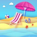 Parasole rosa - l'ombrello in carta ha tagliato lo stile Chaise longue rosa Mare e spiaggia di origami Partita a baseball di spor Fotografie Stock