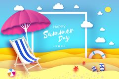 Parasole rosa - l'ombrello in carta ha tagliato lo stile Chaise longue rosa Mare e spiaggia di origami Partita a baseball di spor Immagine Stock