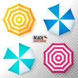 Parasoles de playa coloridos de la opinión superior del vector fijados stock de ilustración