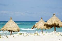 Parasoles de playa de la hierba Imágenes de archivo libres de regalías