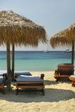 Parasoles de playa de la hierba Imagen de archivo