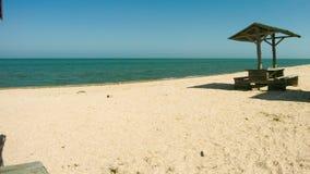 Parasoles de playa y tablas de madera y en la playa almacen de video