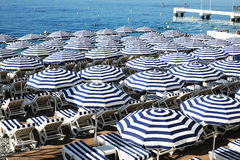 Parasoles in Nice France. A typical French Riviera scene with views from Prom des Anglais in Nice France Royalty Free Stock Photos