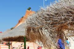 Parasoli sulla spiaggia di Falesia in Algarve immagine stock libera da diritti