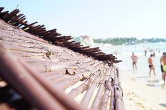 Parasoller på stranden Arkivfoto