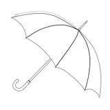 Parasolowa kolorystyka, wektorowy nakreślenie Czarny i biały otwarty parasol, odizolowywający na białym tle Obraz Stock