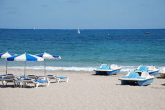 Parasols on the beach royalty free stock photography