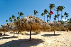 Parasols on beach Stock Photo