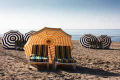 Parasols at the beach Royalty Free Stock Image