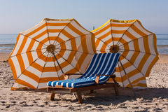 Parasols at the beach Royalty Free Stock Photography