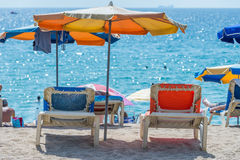 Parasols on the beach Royalty Free Stock Images