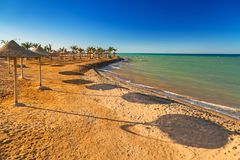 Parasols on the beach of Red Sea. In Hurghada, Egypt Stock Images