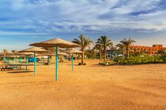 Parasols on the beach of Red Sea. In Hurghada, Egypt Stock Image