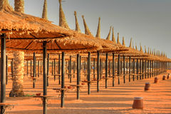 Parasols on the beach of Sharm el Sheikh Stock Image