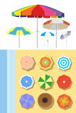 Parasols at the beach. Vector illustration stock illustration
