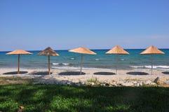 Parasols on the beach Stock Photo