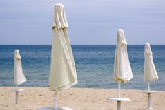 Parasols, Black Sea beach Stock Image