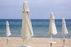 Parasols, Black Sea beach. Beach parasols at Obzor, Bulgaria Stock Image