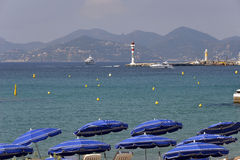 Parasols at Cannes in France Stock Images