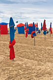 Parasols on Deauville Beach Royalty Free Stock Images
