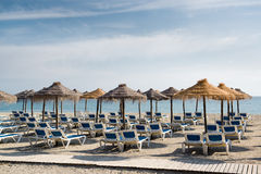 Parasols with deckchairs Stock Image