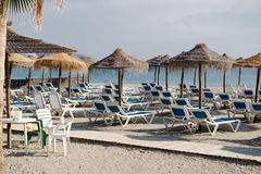 Parasols with deckchairs Stock Photography