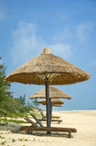 Parasols on idyllic beach Stock Photos