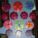 Parasols Iglesias. Colored parasols in the streets of Iglesias, Sardinia, Italy Royalty Free Stock Images