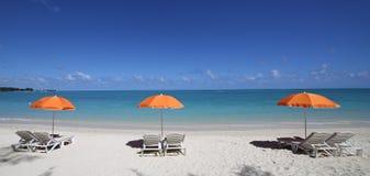 Parasols on Mont-Choisy beach, Mauritius island Royalty Free Stock Photos