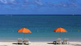 Parasols on Mont-Choisy beach, Mauritius island Stock Photo