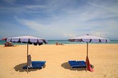 Parasols on sandy beach in Phuket Royalty Free Stock Photos
