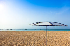 Parasols at Santa Maria beach in Sal Island - Cape Verde - Cabo Stock Photo