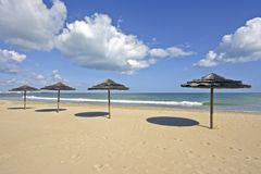 Parasols in summer at the beach Royalty Free Stock Photography