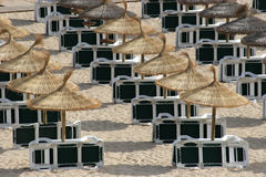 Parasols and sunbeds on beach Royalty Free Stock Image