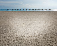 Parasols on vast empty winter beach Stock Image