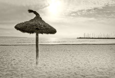 Parasols on winter beach. In vintage retro monotone color in Mallorca, Balearic islands, Spain Stock Images