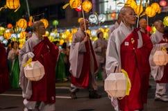 Parata buddista Seoul, lanterne di carta della lanterna Fotografia Stock Libera da Diritti