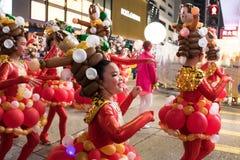 Parata cinese di notte del nuovo anno Fotografie Stock Libere da Diritti