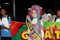 Parata commemorativa Eid 1 città 1435 H Nganjuk, East Java, Ind di Syawal Immagini Stock Libere da Diritti