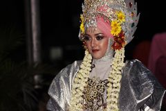Parata commemorativa Eid 1 città 1435 H Nganjuk, East Java, Ind di Syawal Fotografia Stock