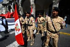 Parata del soldato nel Perù fotografie stock libere da diritti