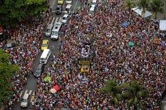 Parata della via di carnevale a Copacabana Fotografia Stock