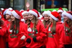 Parata della via di ringraziamento - Natale di un paese fotografie stock libere da diritti