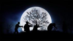 Parata dello zombie di luce della luna illustrazione di stock