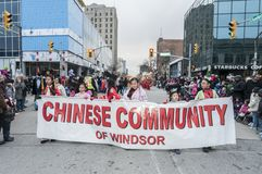 Parata di Natale di Windsor Ontario Canada Fotografia Stock Libera da Diritti